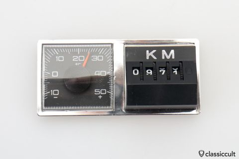 Magnetic KM Miles Counter Temp Gauge NOS