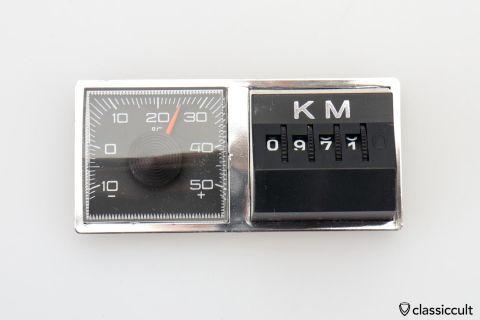 Magnetic KM Miles Counter Temp Gauge NOS