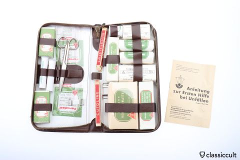 German Lohmann car first aid leather kit