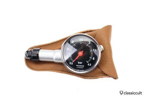 Motometer Germany Tyre Gauge in brown leather pouch