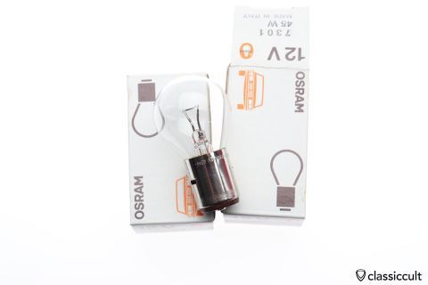 Osram 7301 12V 45W BA20s bilux bulb NOS