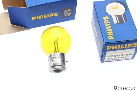 yellow Philips bulb 12V 45W BA21 NOS