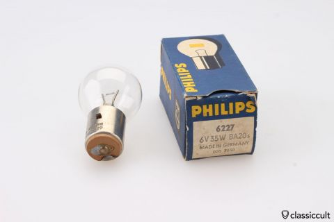 Philips Bilux Bulb 6V 35W BA20s NOS