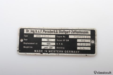 Porsche Type 616 33-1 1964 motor badge