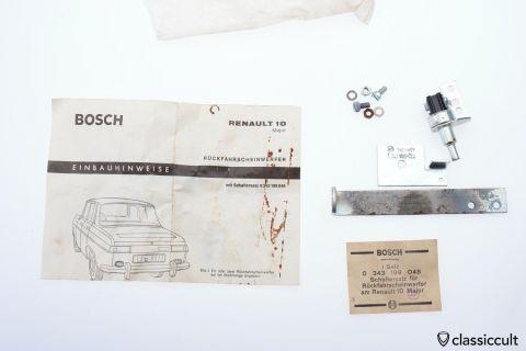 Renault R10 Bosch Backup Light Switch Bracket NOS