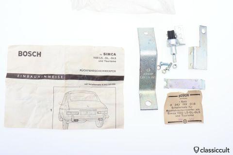 SIMCA 1100 Bosch Backup Light Switch Bracket NOS