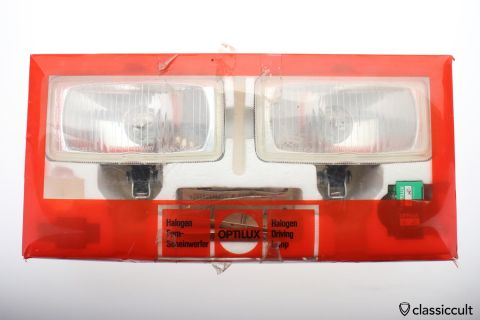 square OPTILUX H3 Halogen foglights 1978 Germany NOS