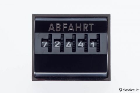 Vintage VW dash mileage departure counter black