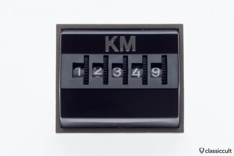 Vintage VW dash mileage kilometer counter black