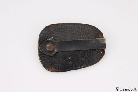 Vintage VW Leather Key Fob Oval Beetle