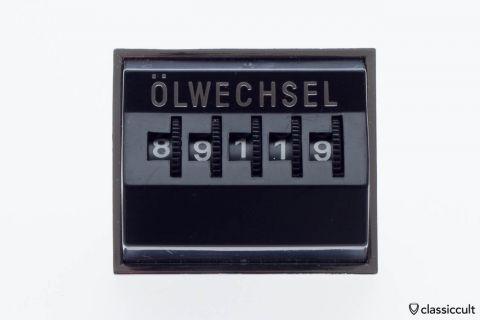 Vintage VW dash mileage oil change counter black