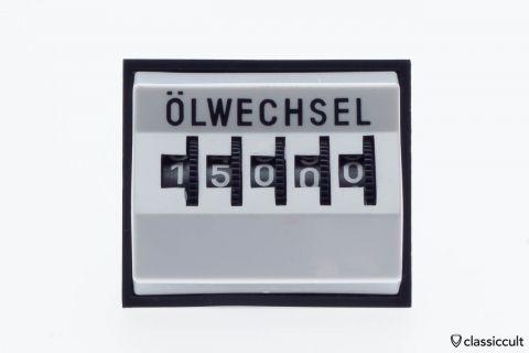 Vintage VW dash mileage oil change counter white