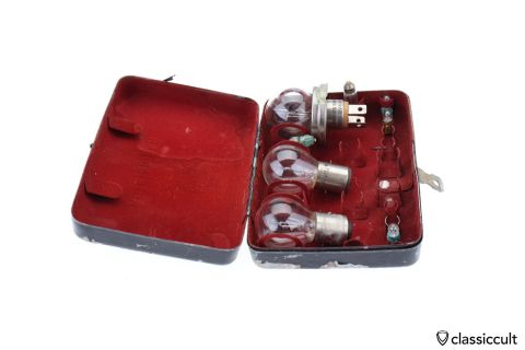 Vintage Osram bulb tin box black red