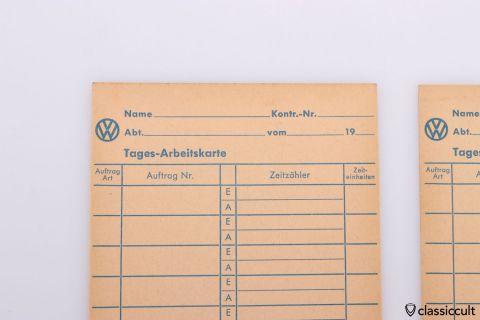 Vintage VW Tages Arbeitskarte work card
