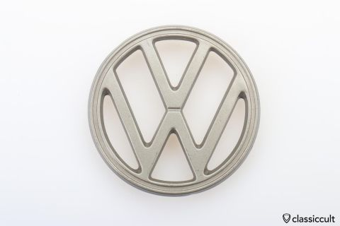 VW Bug 1200A hood emblem Steel Grey NOS