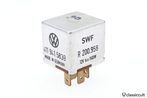 VW 12V Light Relay # 411941583B SWF R200958 Germany