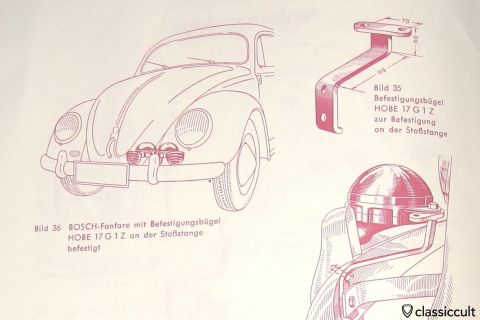 Rare VW Oval Bosch fanfare horn bracket