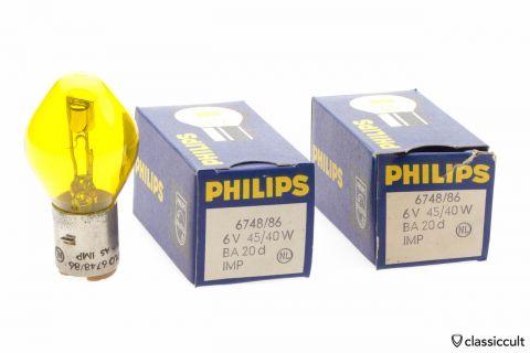 Yellow Philips 6V Bilux Bulb for Headlight fog light NOS